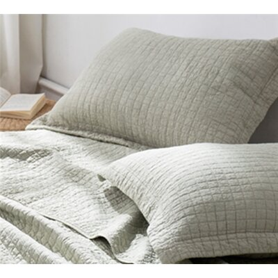 Flory Wrinkle Stone Washed Sham Size: King, Color: Silver Birch