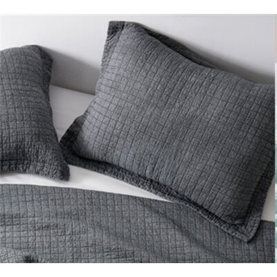 Flory Wrinkle Stone Washed Sham Size: Standard/Twin, Color: Pewter