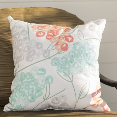 Chenango Hydrangeas Floral Print Outdoor Throw Pillow Size: 18 H x 18 W, Color: Coral