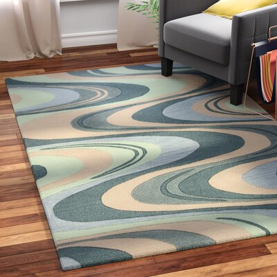 Randolph Hand-Tufted Beige/Seafoam Waves Area Rug Rug Size: Rectangle 33 x 53
