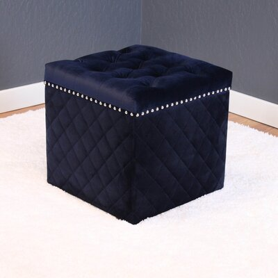 Westbrooks Cube Ottoman Upholstery: Ink Navy