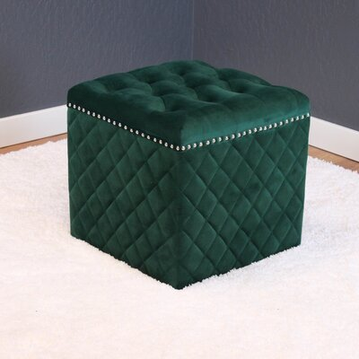 Westbrooks Cube Ottoman Upholstery: Emerald Green