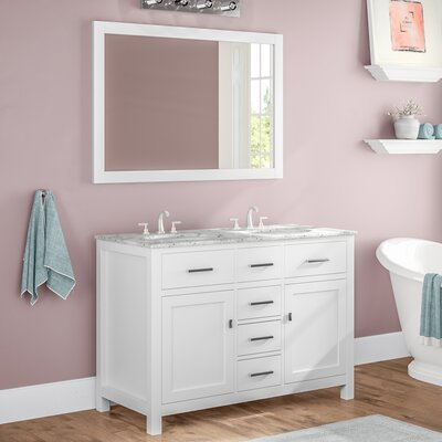 Sverre 48 Double Bathroom Vanity with Mirror Base Finish: White