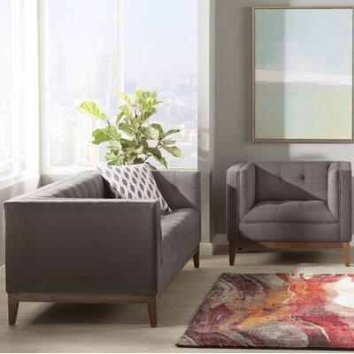Ramey Linen 2 Piece Living Room Set Upholstery: Gray