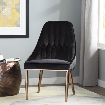 Cecilwood Dining Side Chair Finish: Rose Gold/Black
