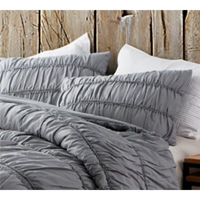 Krouse Cotton Lace Textured Sham Size: Standard/Twin, Color: Alloy Gray