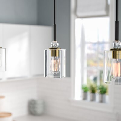 Friedman 1-Light Mini Pendant Finish: Painted Bronze/Natural Brushed Brass