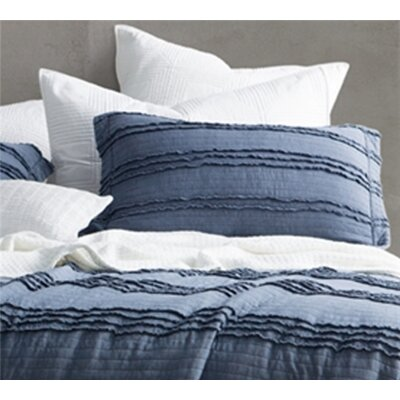 Christner Ruffled Stone Washed Sham Size: King, Color: Navy