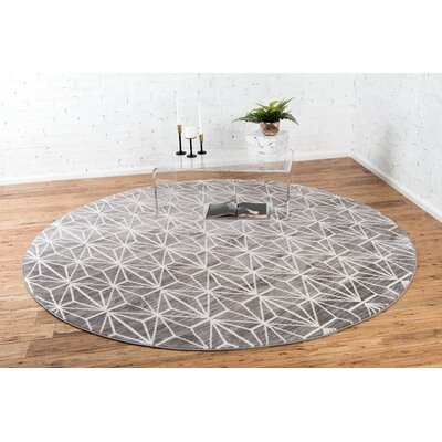 Uptown Gray Area Rug Rug Size: Round 8