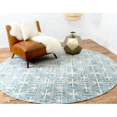 Uptown Blue Area Rug Rug Size: Round 8