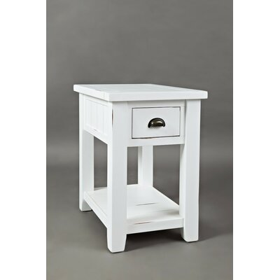 Redd End Table with Storage Color: Weathered White
