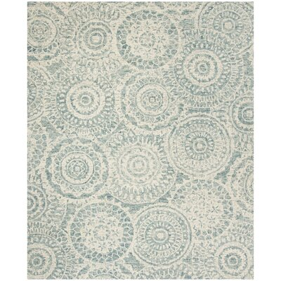 Salerna Hand-Tufted Wool Ivory/Blue Area Rug Rug Size: Rectangle 4 x 6