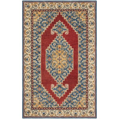 Clymer Antiquity Hand-Tufted Wool/Cotton Blue/Red Area Rug Rug Size: Rectangle 23 x 8