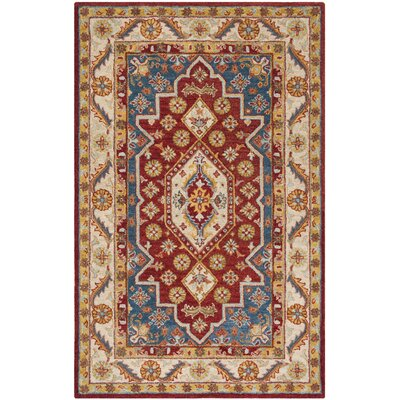 Clymer Antiquity Hand-Tufted Wool/Cotton Red/Beige Area Rug Rug Size: Rectangle 23 x 8