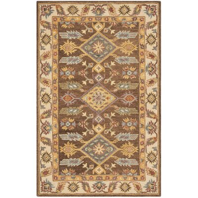 Clymer Antiquity Hand-Tufted Wool/Cotton Brown/Ivory Area Rug Rug Size: Round 6