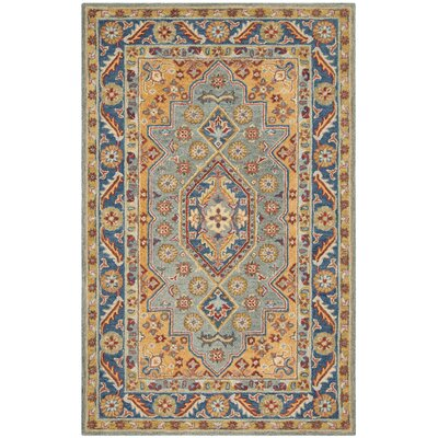 Clymer Antiquity Hand-Tufted Wool/Cotton Blue/Gold Area Rug Rug Size: Round 6