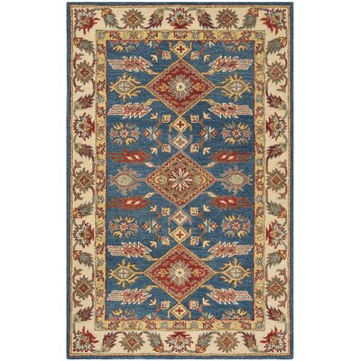 Clymer Antiquity Hand-Tufted Blue/Beige Area Rug Rug Size: Rectangle 2 x 3
