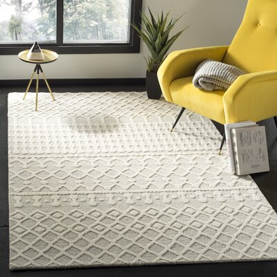 Forrest Hand-Tufted Wool Silver/Ivory Area Rug Rug Size: Rectangle 8 x 10