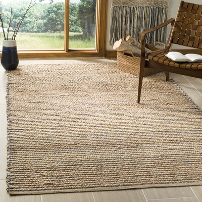 Chupp Hand-Woven Natural/Blue Area Rug Rug Size: Rectangle 5 x 8