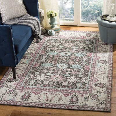 Foxborough Classic Vintage Raspberry/Ivory Area Rug Rug Size: Rectangle 4' x 6'