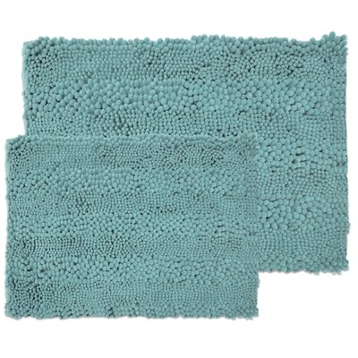 Kratzer Aldante 2 Piece Chenille Bath Rug Set Color: Aqua