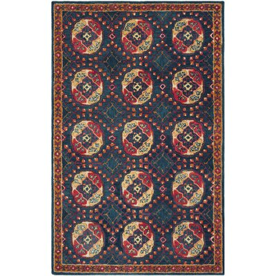 Iorio Hand-Tufted Wool Navy/Red Area Rug Rug Size: Round 6