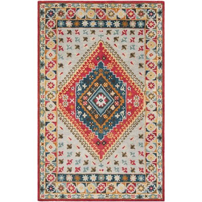 Ippolito Hand-Tufted Wool Gray/Red Area Rug Rug Size: Rectangle 5 x 8