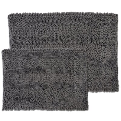 Kratzer Aldante 2 Piece Chenille Bath Rug Set Color: Light Charcoal