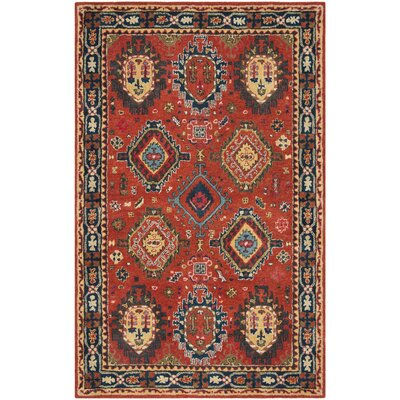 Irizarry Hand-Tufted Wool Rust Area Rug Rug Size: Round 6
