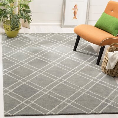 Dirks Hand-Tufted Wool Gray Area Rug Rug Size: Round 6