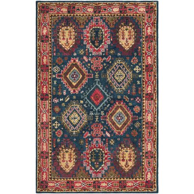 Iraheta Hand-Tufted Wool Navy/Red Area Rug Rug Size: Rectangle 23 x 8