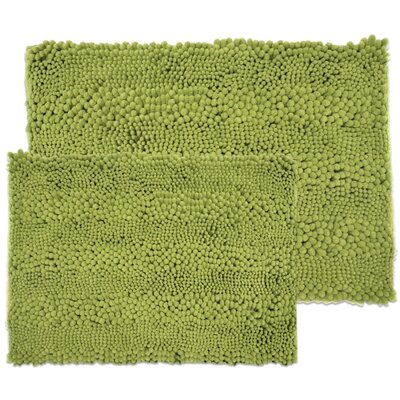 Kratzer Aldante 2 Piece Chenille Bath Rug Set Color: Sage