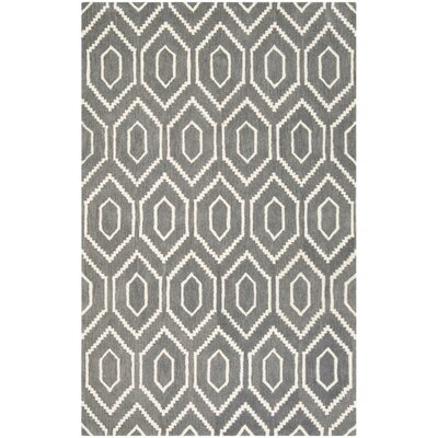 Forsberg Hand-Tufted Wool Dark Gray/Ivory Area Rug Rug Size: Rectangle 5 x 8