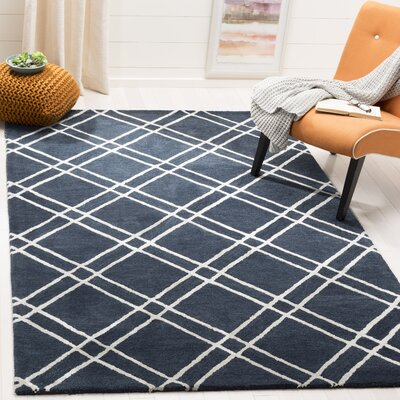 Dirks Hand-Tufted Wool Navy Area Rug Rug Size: Square 6