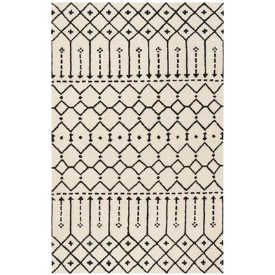 Cuddy Hand-Tufted Wool Ivory/Black Area Rug Rug Size: Square 6