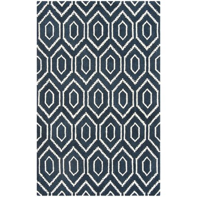 Forsberg Hand-Tufted Wool Navy/Ivory Area Rug Rug Size: Rectangle 4 x 6