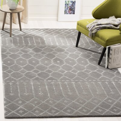 Cuddy Hand-Tufted Wool Gray Area Rug Rug Size: Round 6