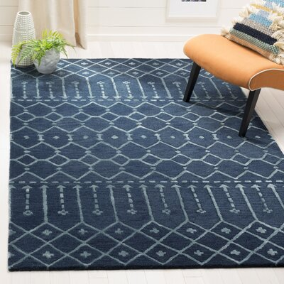 Cuddy Hand-Tufted Wool Navy Area Rug Rug Size: Round 6