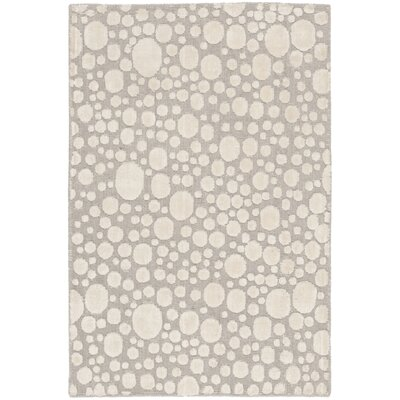 Oliverio Hand-Woven Silver/Cream Area Rug Rug Size: Rectangle 6 x 9