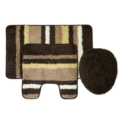 Churchton Cyprus 3 Piece Striped Bath Rug Set Color: Chocolate/Taupe