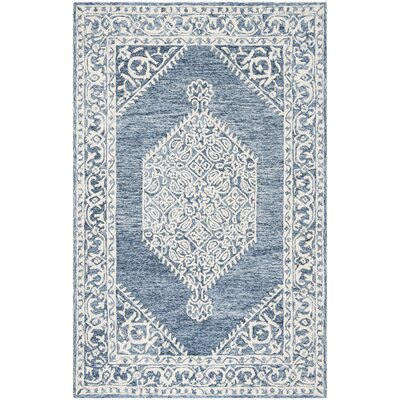 Salerna Hand-Tufted Wool/Cotton Blue/Ivory Area Rug Rug Size: Round 5