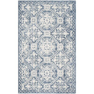 Salerna Hand-Tufted Wool/Cotton Blue/Ivory Area Rug Rug Size: Rectangle 23 x 7