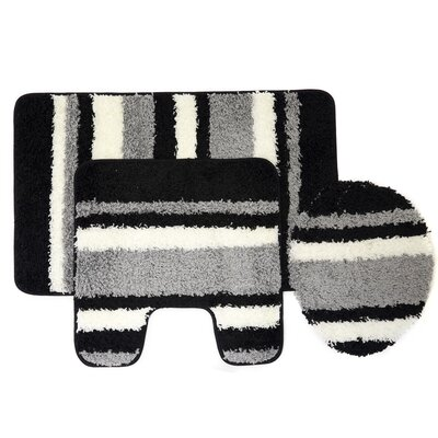 Churchton Cyprus 3 Piece Striped Bath Rug Set Color: Gray/Black