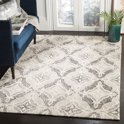 Ontiveros Micro-Loop Hand-Tufted Wool Gray Area Rug Rug Size: Rectangle 9 x 12
