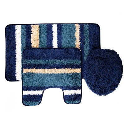 Churchton Cyprus 3 Piece Striped Bath Rug Set Color: Blue