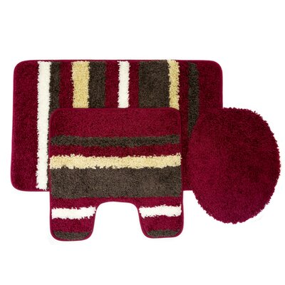 Churchton Cyprus 3 Piece Striped Bath Rug Set Color: Burgundy