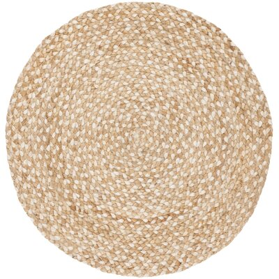 Salerna Hand-Woven Natural/Ivory Area Rug Rug Size: Round 4