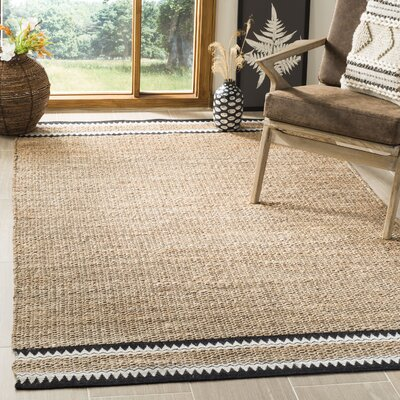 Framingham Hand-Woven Natural/Black Area Rug Rug Size: Rectangle 26 x 8