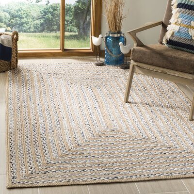Diara Natural Fiber Hand-Woven Blue/Natural Area Rug Rug Size: Rectangle 4 x 6