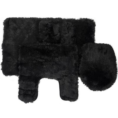Kurland Fluff 3 Piece Bath Rug Set Color: Black